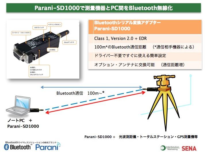 Parani-SD1000で測量機器とPC間をBluetooth無線化
